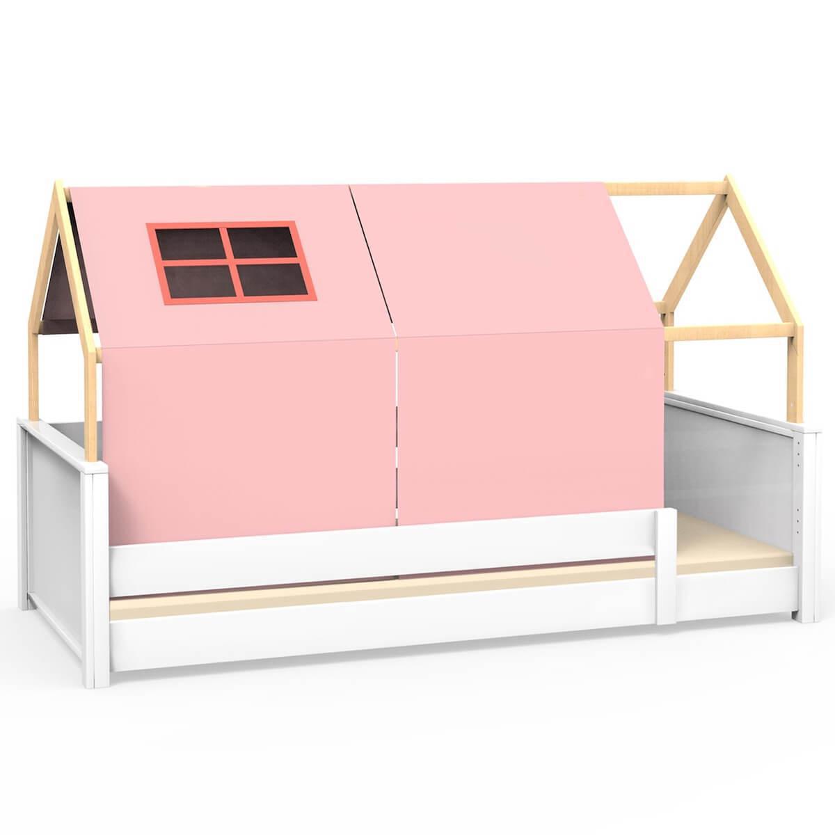Lit montessori barrière simple cabane KASVA avec textiles Viena pink