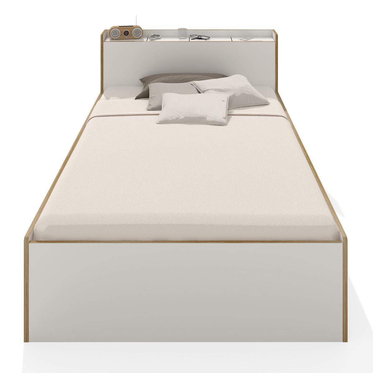 Lit simple 100x200cm NOOK Mueller blanc - bord en bouleau
