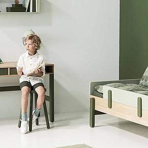 Lit simple 90x200cm POPSICLE Flexa chêne-kiwi