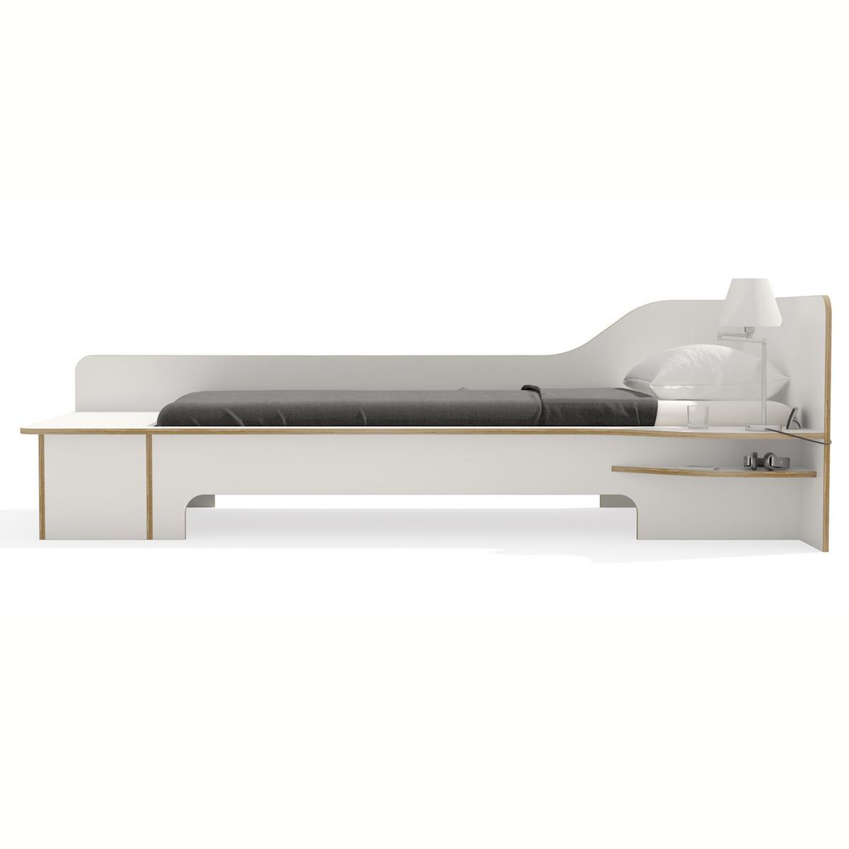 Lit simple 90x200cm tiroir de lit version droite PLANE Mueller blanc