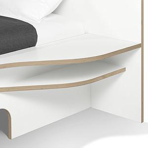 Lit simple 90x200cm version droite PLANE Mueller blanc - bord en bouleau