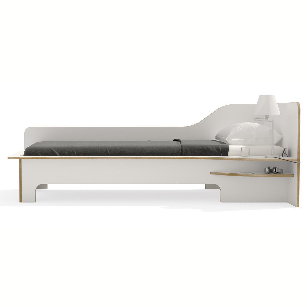 Lit simple 90x200cm version droite PLANE Mueller blanc-bouleau