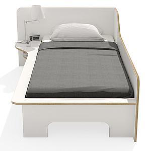 Lit simple 90x200cm version gauche PLANE Mueller blanc - bord en bouleau