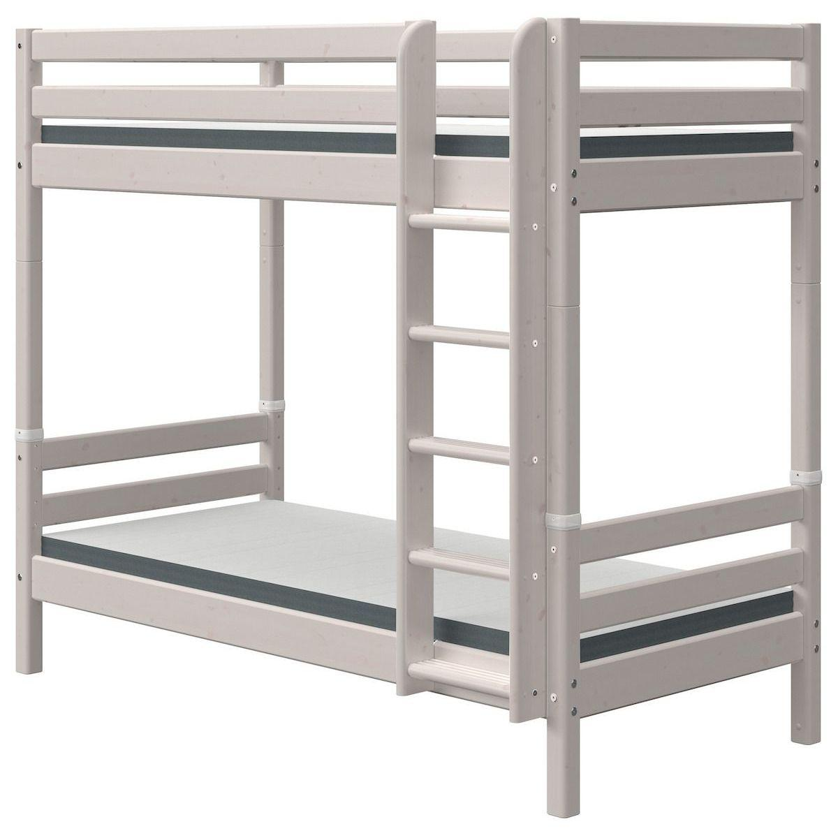 Lit superposé haut 90x200cm échelle droite CLASSIC grey washed