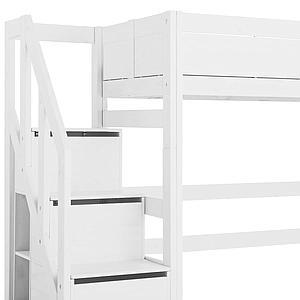 Lit surélévé 90x200cm escalier Lifetime blanc