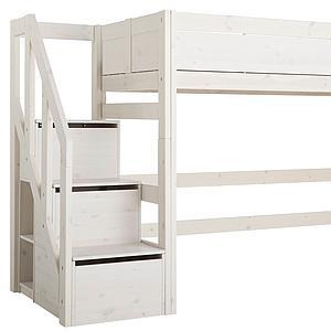 Lit surélévé 90x200cm escalier Lifetime blanchi