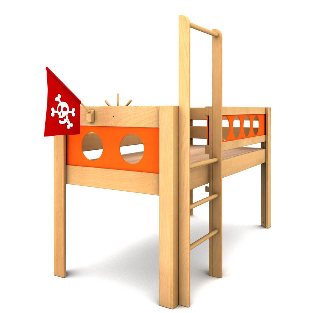 Lit surélevé Pirate DELUXE de Breuyn bois huilé-orange