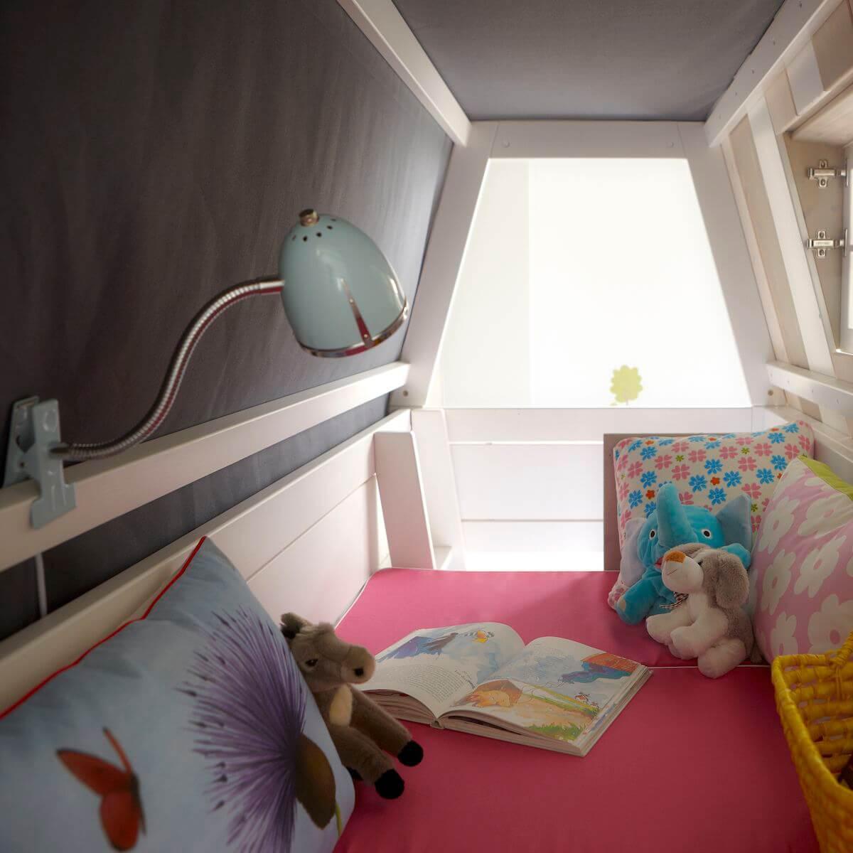 Lits cabane superposés 90x200cm échelle intérieur sommier DE LUXE HANG OUT Lifetime blanc