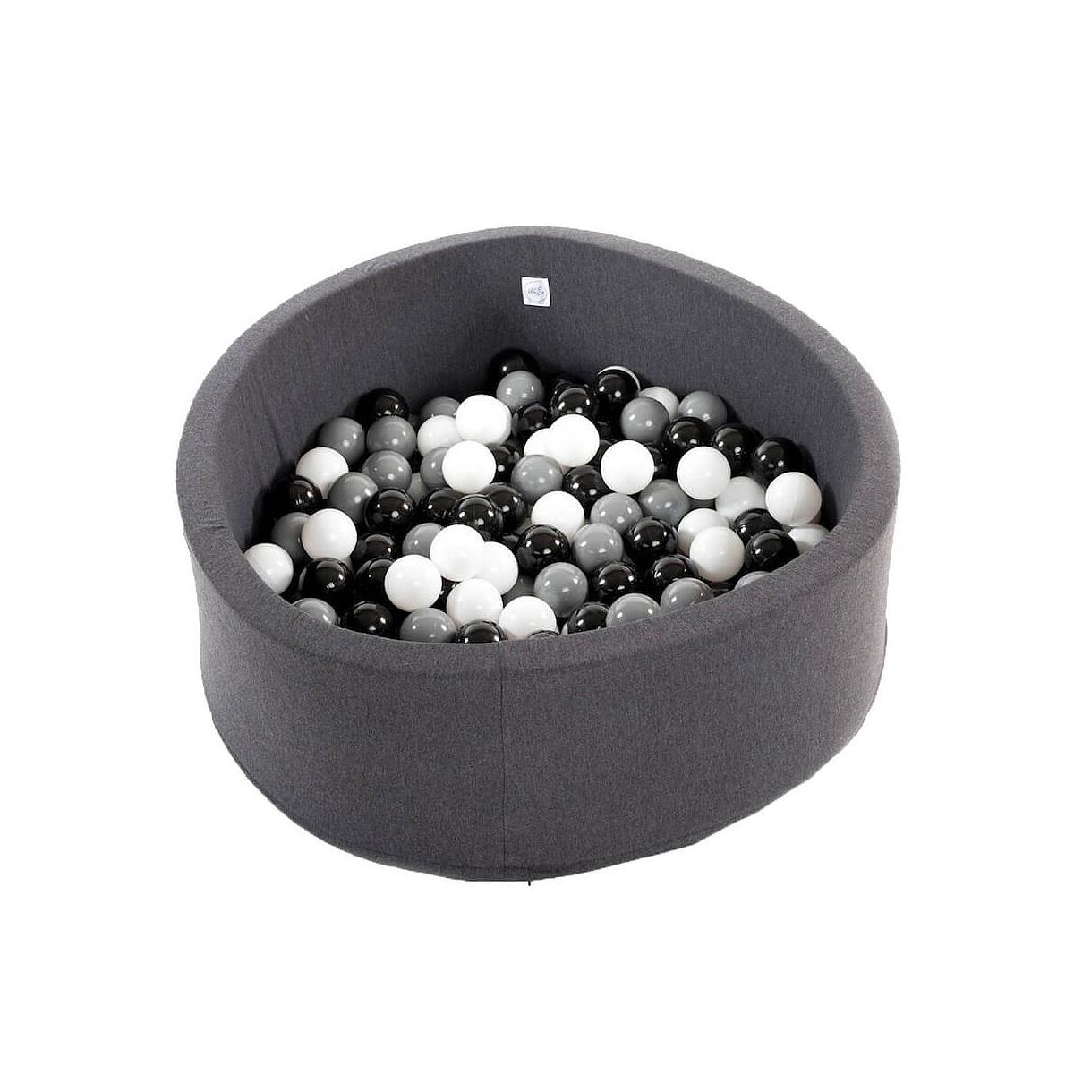 Piscine 200 boules DARK GREY Minibe noir-blanc-gris