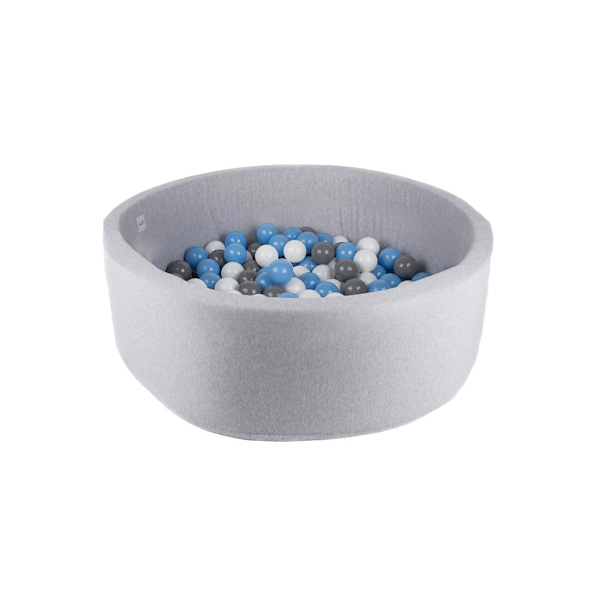Piscine 200 boules LIGHT GREY Minibe baby blue-blanc-gris