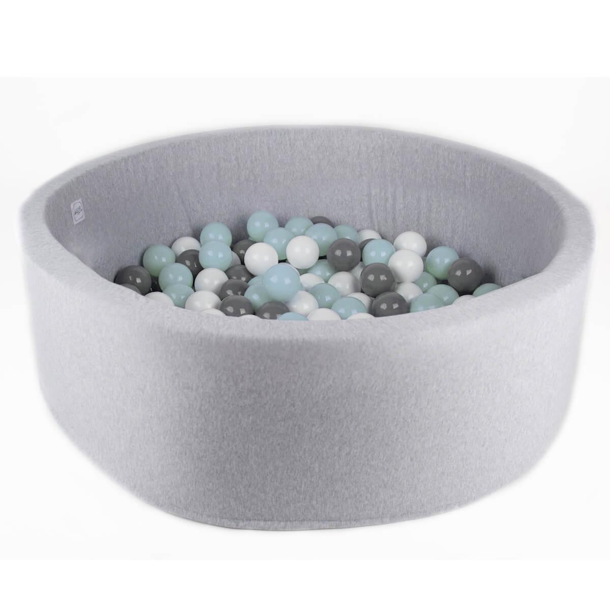 Piscine 200 boules  LIGHT GREY Minibe blanc-gris claro-mint
