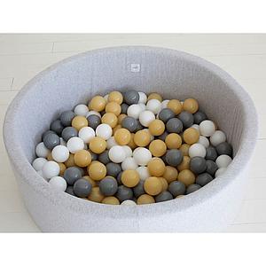 Piscine 200 boules LIGHT GREY Minibe blanc-gris claro-mostaza