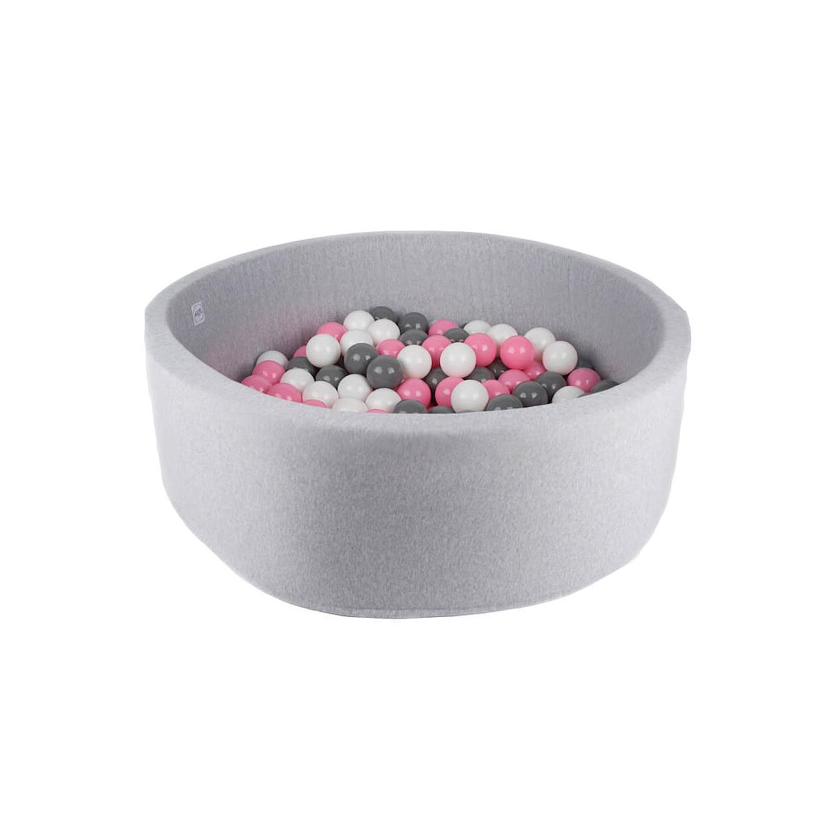 Piscine 200 boules LIGHT GREY Minibe powder pink-gris-blanc