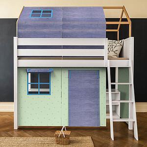 Set de 6 textiles en finition Bobble green-blue pour lit surélevé avec toit
