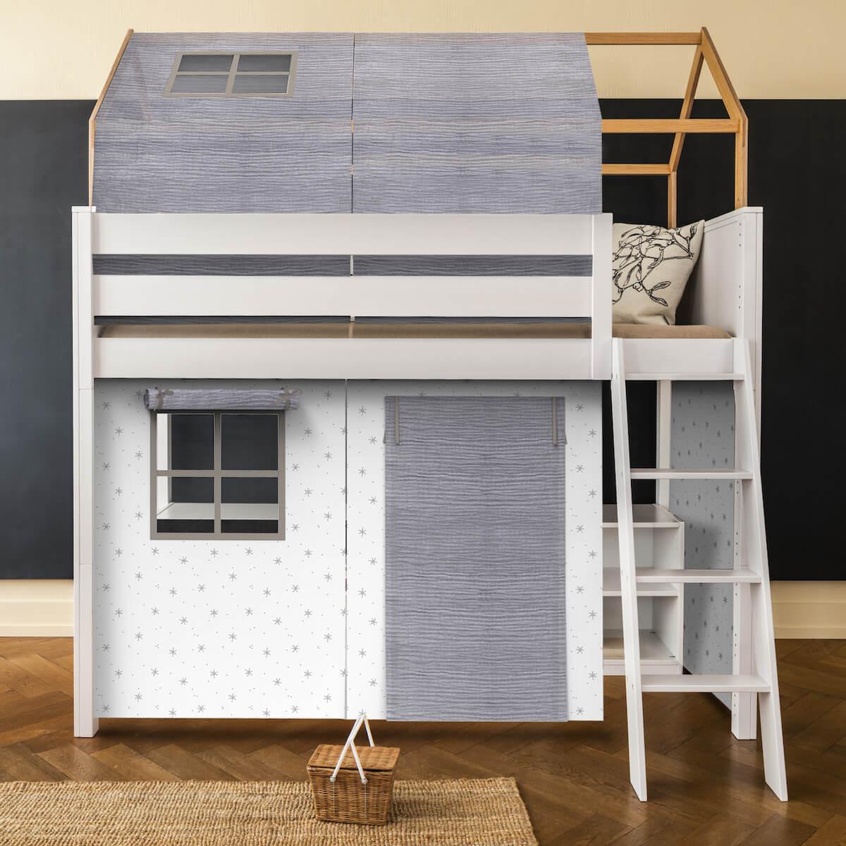 Set de 6 textiles en finition Bobble grey pour lit surélevé avec toit