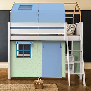 Set de 6 textiles en finition Viena green-blue pour lit surélevé avec toit