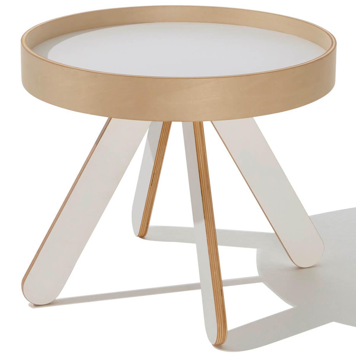 Table à plateau Table de chevet VALET LOW Mueller blanc