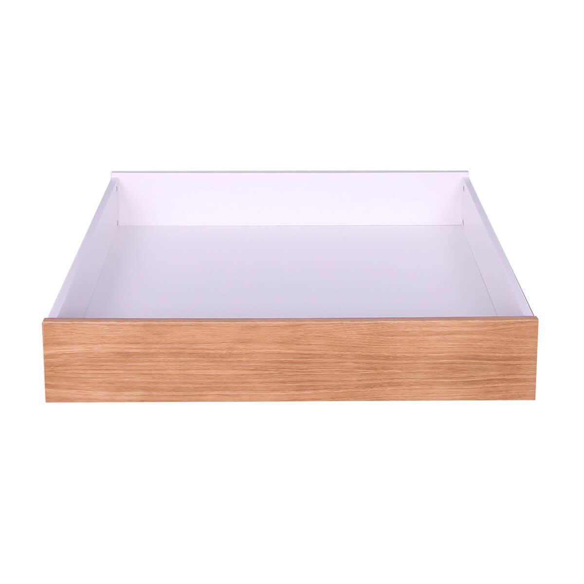 Tiroir lit KASVA Mdf blanc lacqué-Multiplex chêne plaqué