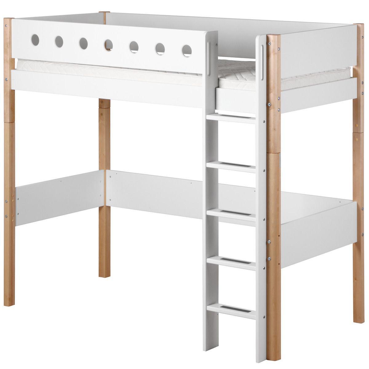 WHITE by Flexa Lit mezzanine en MDF 90x190 cm avec barrière de sécurité blanche et pieds bouleau