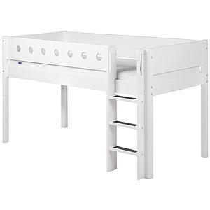 WHITE by Flexa Lit mi-hauteur en MDF 90x200 cm avec barrière de sécurité blanche et pieds blancs