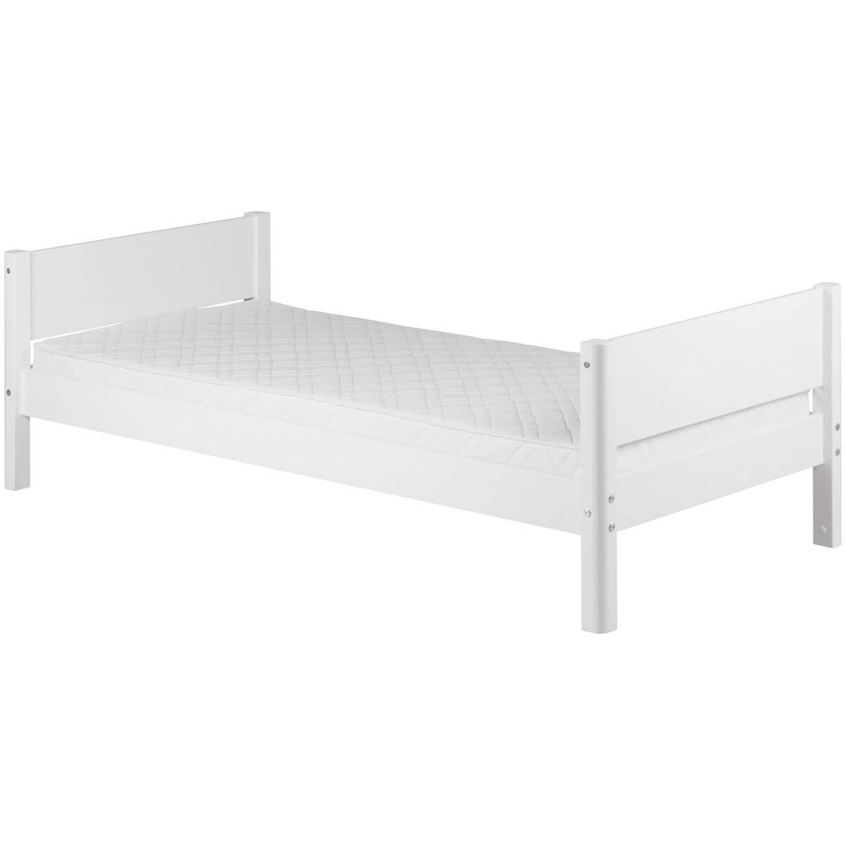 WHITE by Flexa Lit simple 90x190 cm en MDF avec pieds blanc
