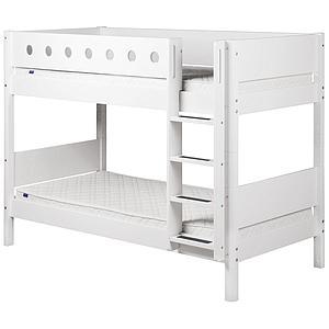 WHITE by Flexa Lits superposés en MDF 90x200 cm avec barrière de sécurité blanche et pieds blancs