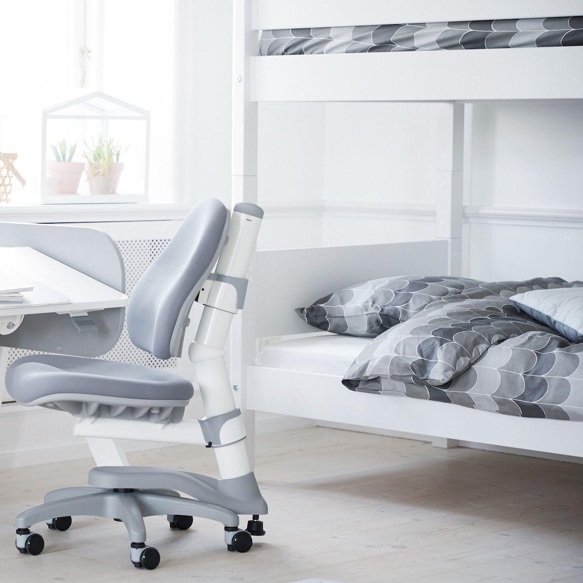 WHITE by Flexa Lits superposés en MDF 90x200 cm avec barrière de sécurité blanche et pieds en bouleau